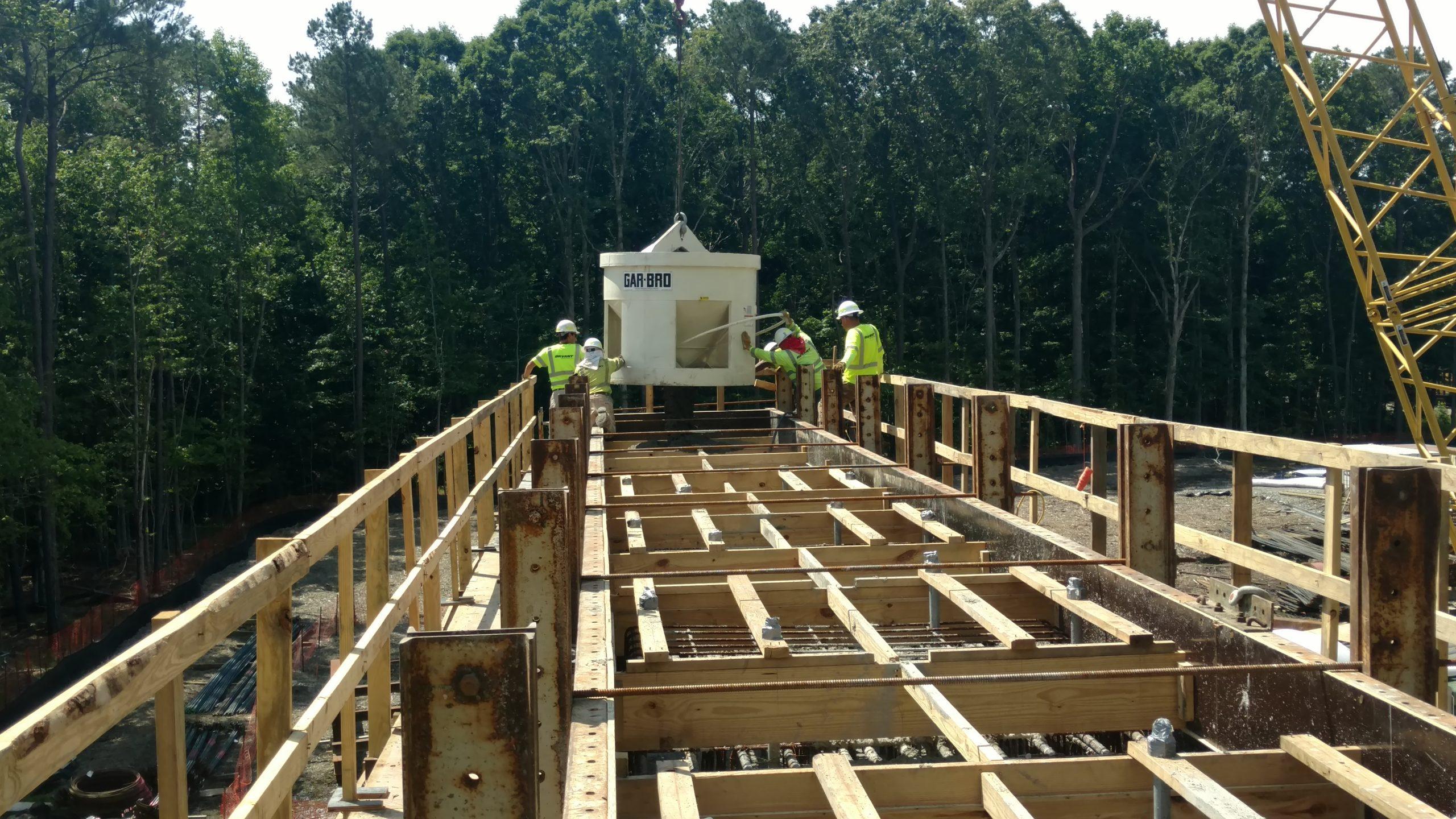 Pouring concrete pier cap