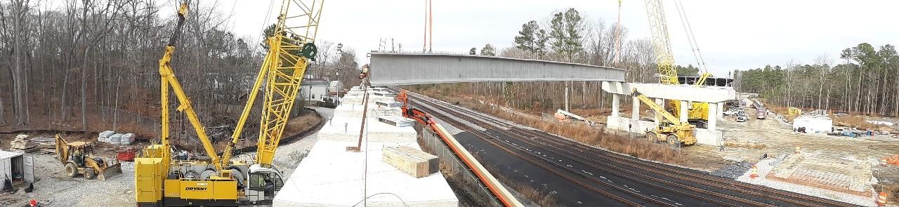 Setting girder over CSX railroad tracks