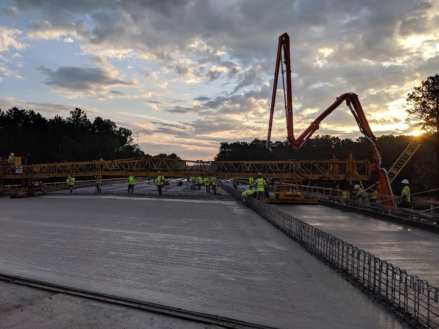 Pouring concrete bridge deck