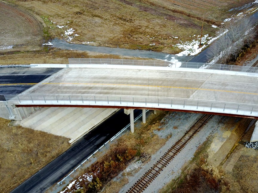 Aerial view of completed bridge over CSX Railroad and Rte. 632
