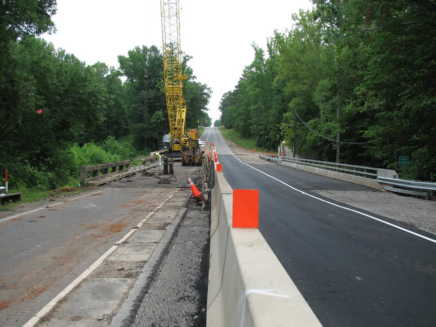 Route 1 over Miles Creek, Mecklenburg County: Stage 2 demolition next to Stage 1 completed bridge