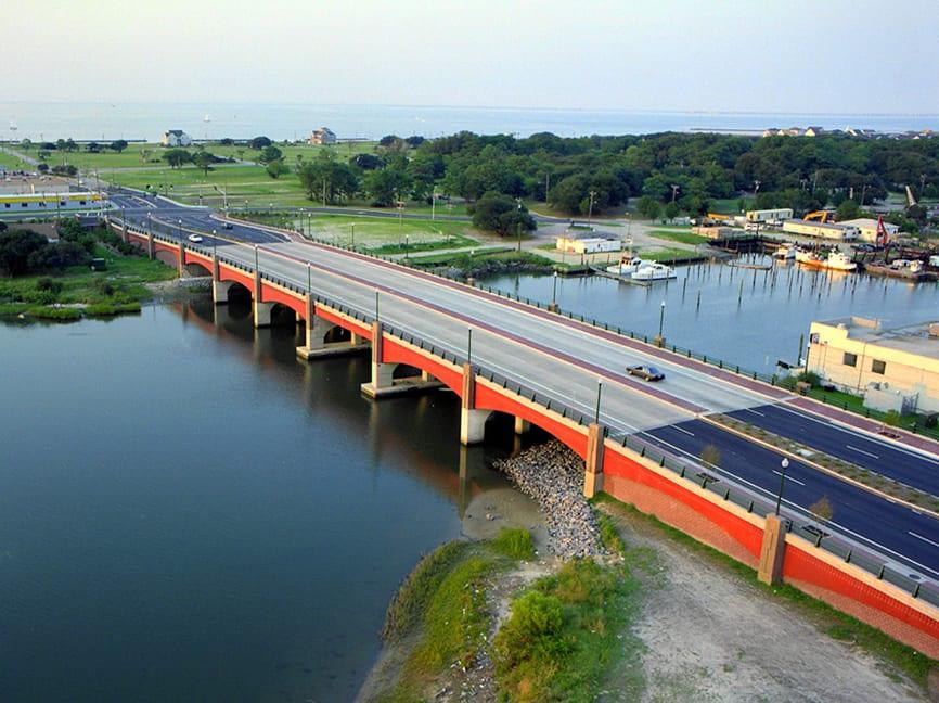 Shore Drive over Little Creek completed bridge.