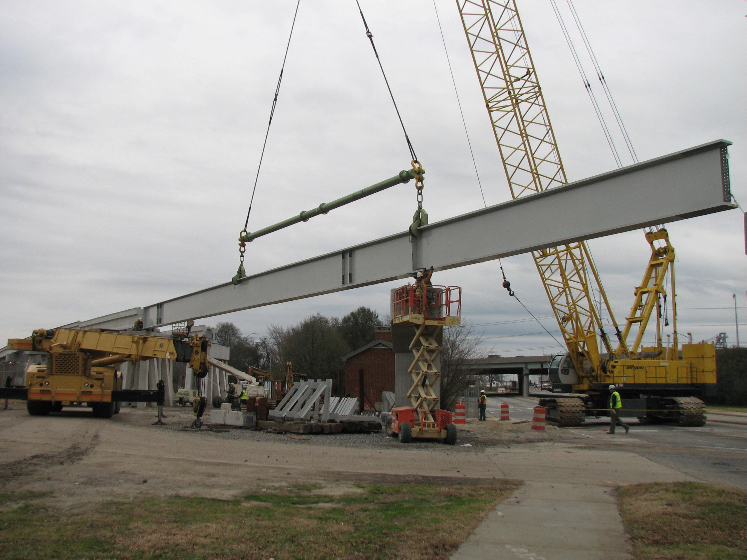 Setting 148' long girder over Brambleton Ave.
