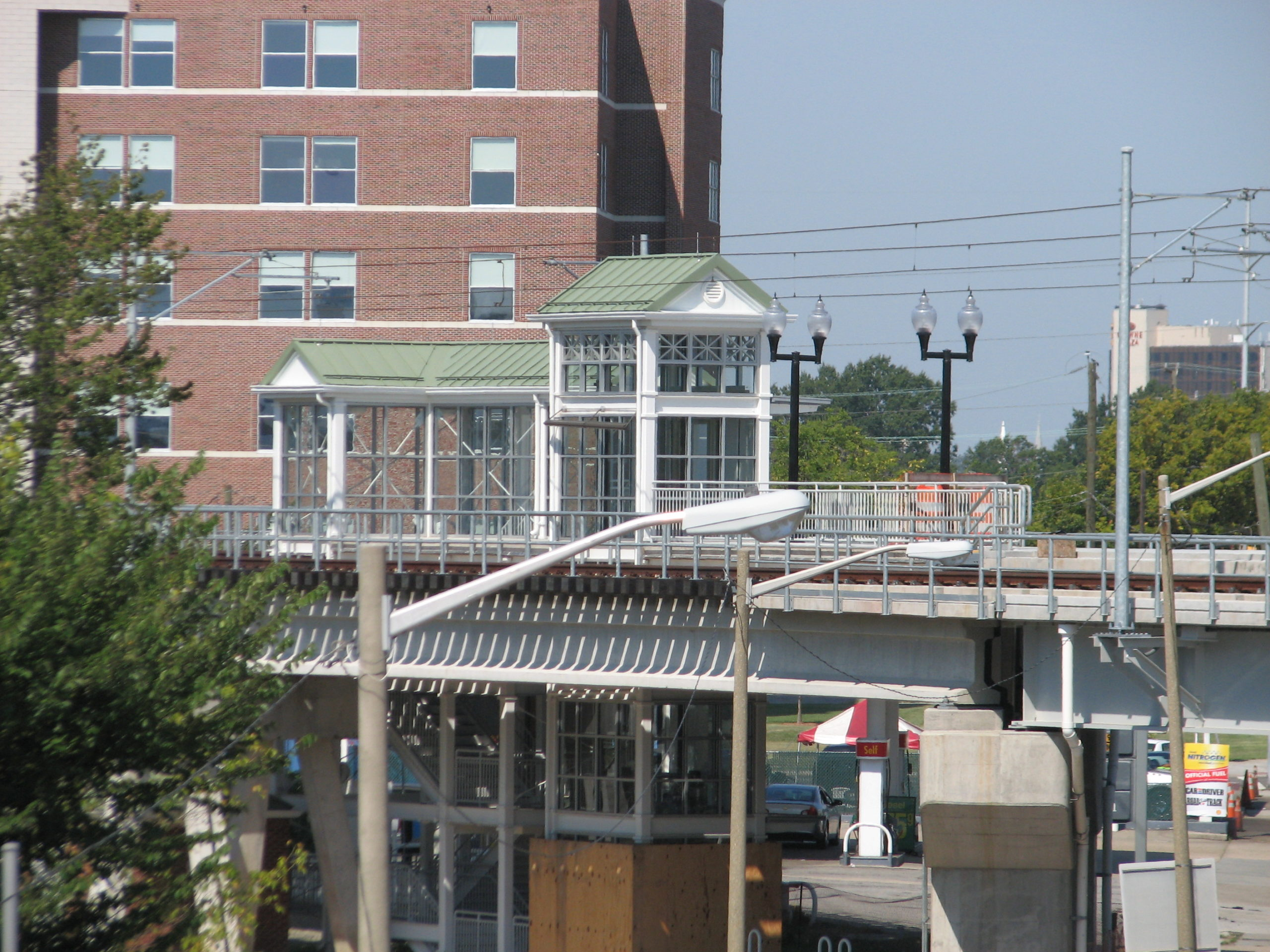 Completed elevator and stair tower at Norfolk State University Station.