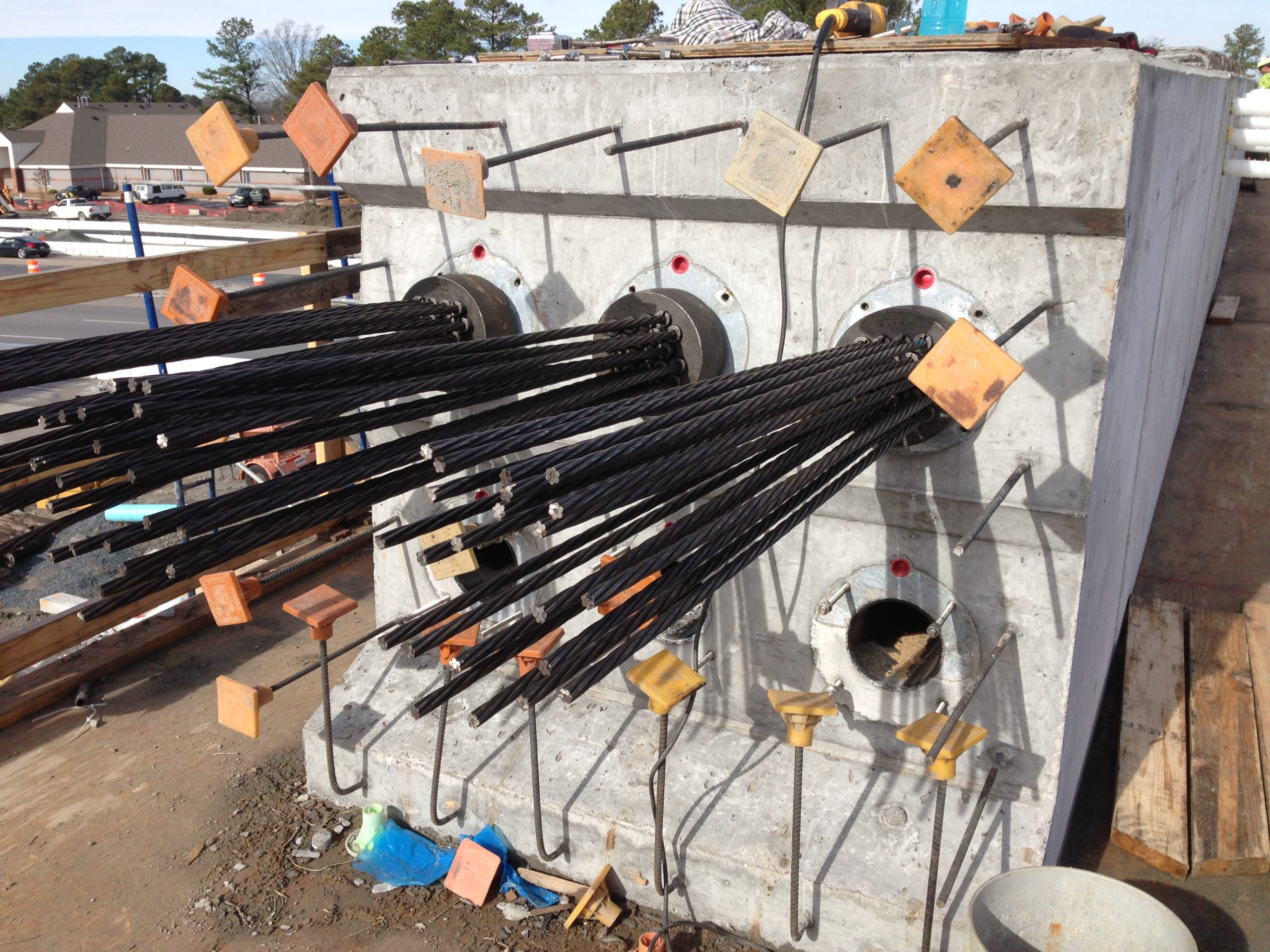 Construction of a unique multi-strand post-tensioned straddle bent pier cap for bridge to the Chesapeake Expressway