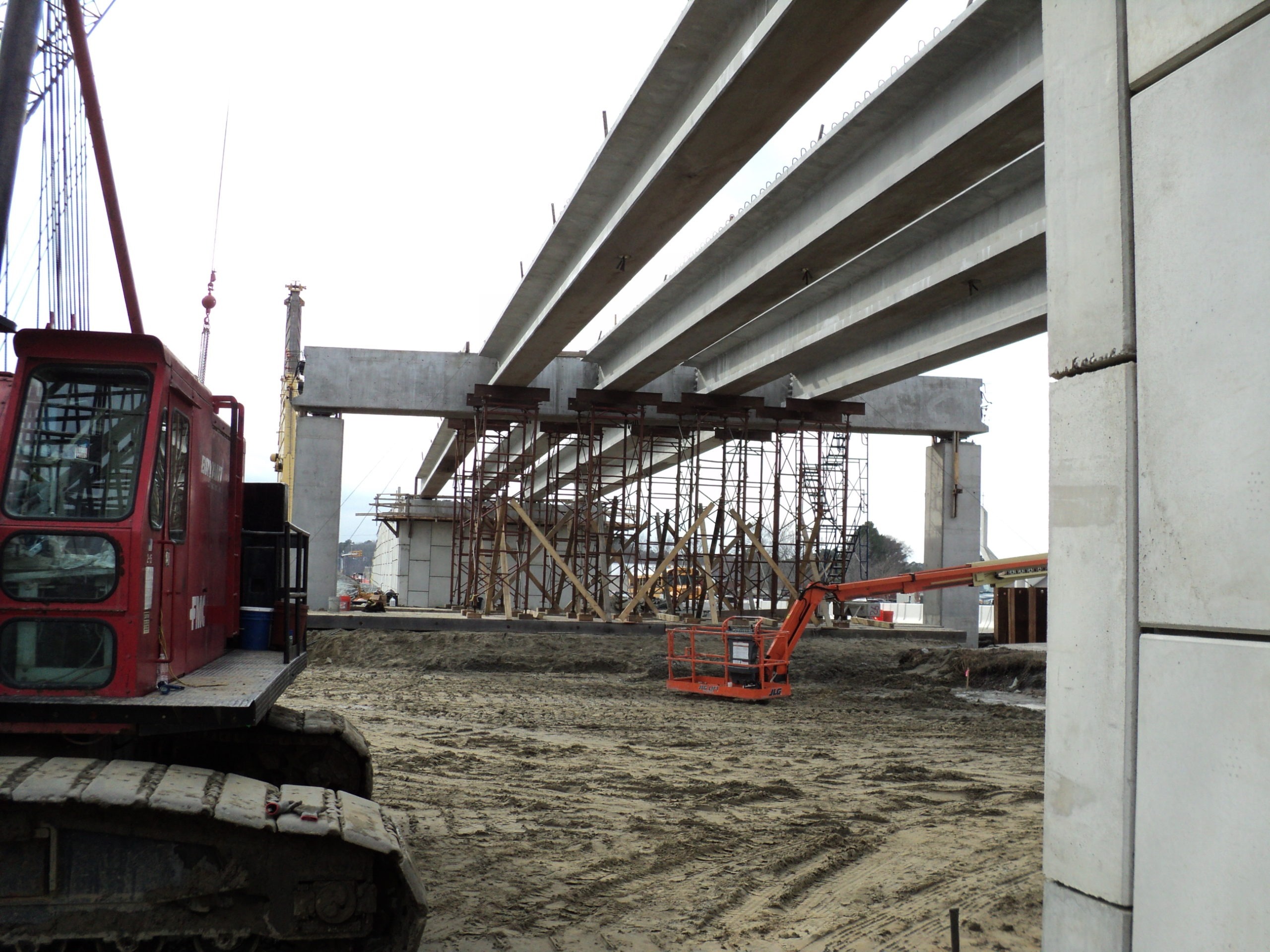 "Post-tensioned 45"" tall Precast Bulb T beams and temporary shoring towers"