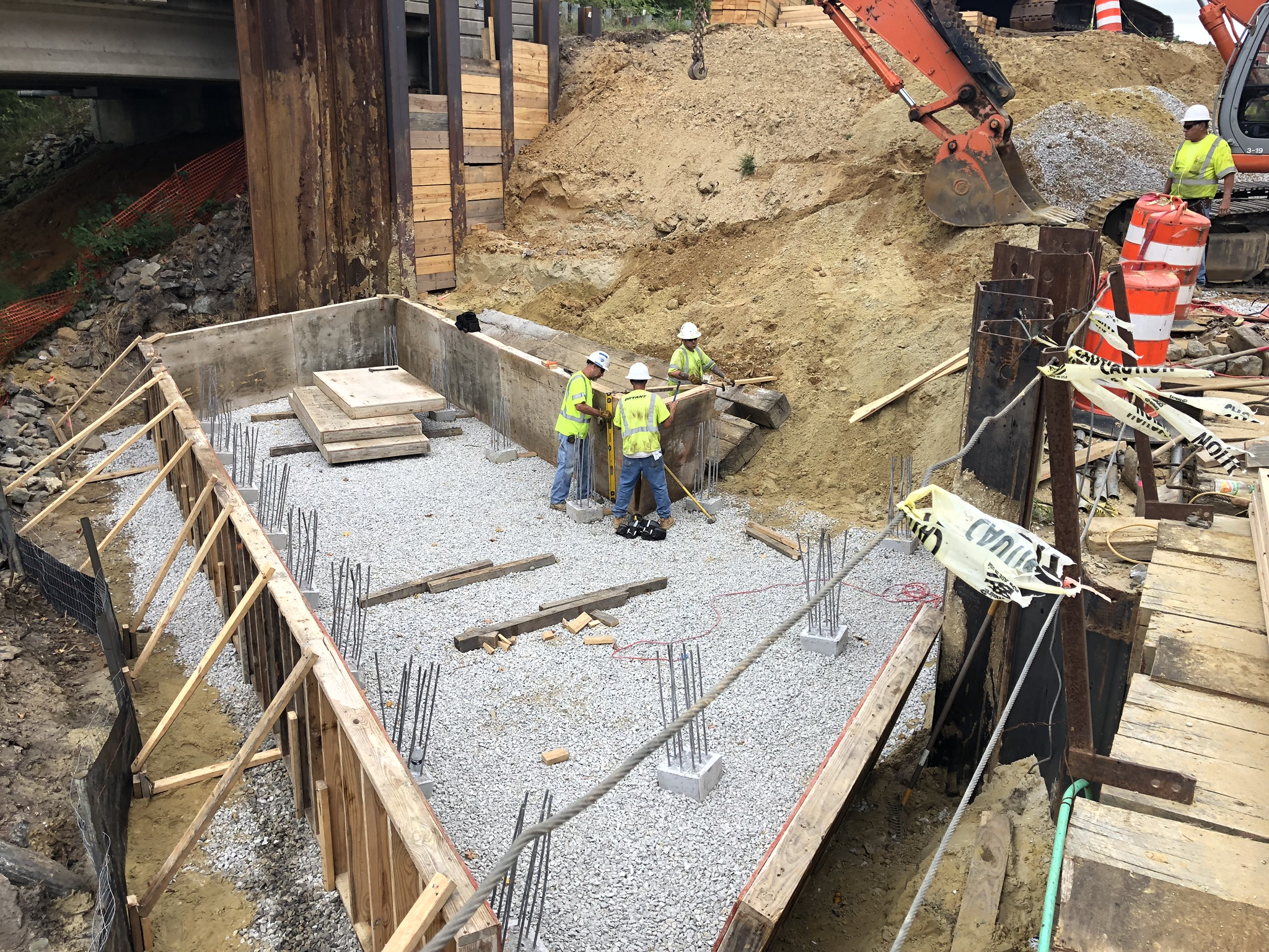 East abutment footer construction