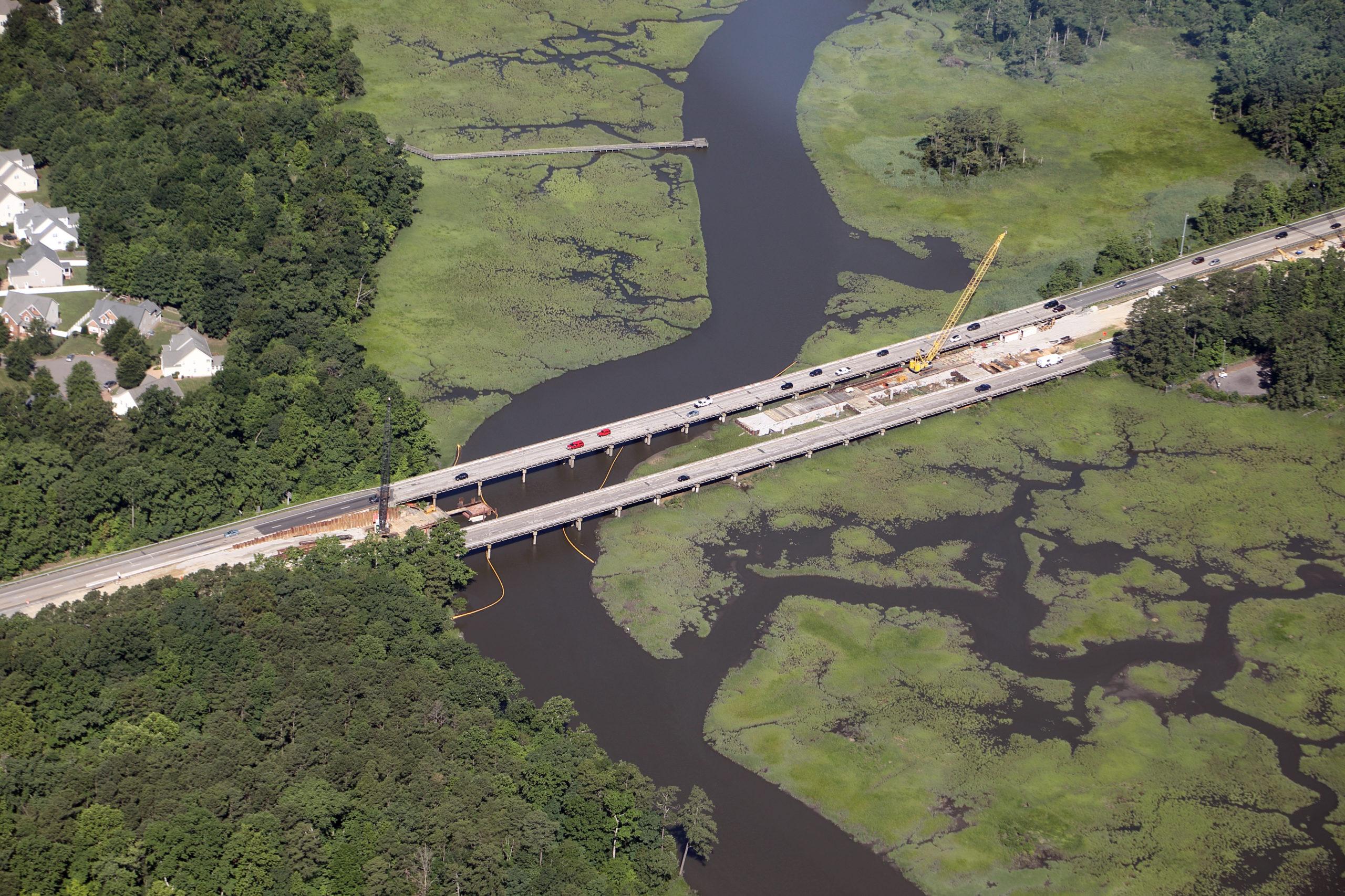 Aerial view of WBL bridge construction.