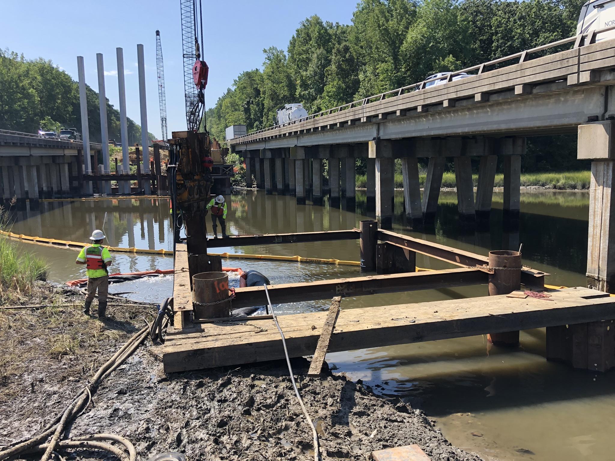 Temporary workbridge installation