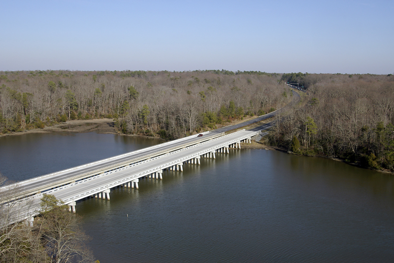 Aerial view of completed bridge over College Creek